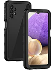 Lanhiem Samsung A32 5G Case, IP68 Waterproof Dustproof Shockproof Case with Built-in Screen Protector, Full Body Sealed Underwater Protective Cover for Samsung Galaxy A32 5G, Black/Clear