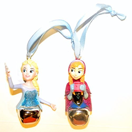 (Disney World WDW Park 2015 Set 2 Frozen Anna Elsa Sisters Princess Glitter Mini Bell Christmas)