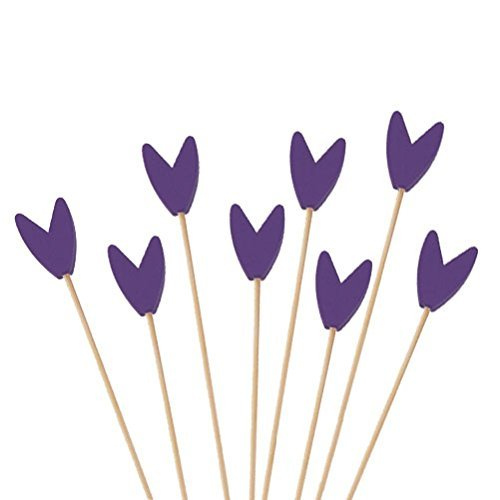 (BambooMN Premium Decorative Tulip End Cocktail Fruit Sandwich Picks Skewers for Catered Events, Holiday's, Restaurants or Buffets Party Supplies - Purple, 3.9
