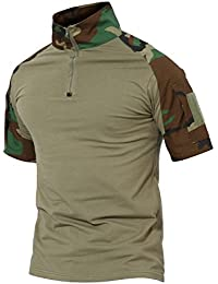 Tactical Military Combat Long and Short Sleeve Slim Fit Camo Shirt with Zipper