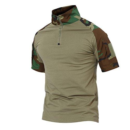 Tactique nbsp;avec Boisée Airsoft Slim Fermeture shirt Combat Fit court Longue Région Militaire Manche Hommes T Magcomsen Éclair PxfZF5Z