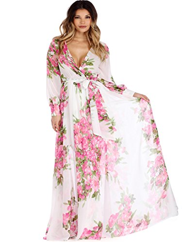 Maxi Dresses For Women, Summer Fall Fancy Flower Long Sleeve V Neck High Waist White Large Size Chiffon Wedding Cocktail Hawaiian Boho Formal Bridesmaid Evening Prom Party Grils Beach Floral Dress XL