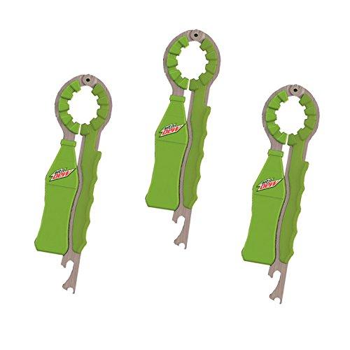 Jokari 3 Count Mtn Dew Modern Logo 3-in-1 Beverage Openers, Green ()
