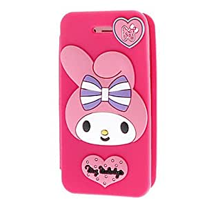 Buy Lovely Girl And Pink Heart Pattern Silicagel Clamshell Full Body Case for iPhone 4/4S , Black