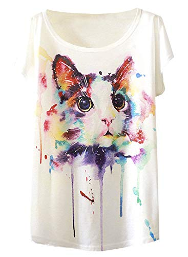 Futurino Women's Cute Cat Graphic Abstract Paint Splatter Casual T-shirt Top,X-Large,White,X-Large
