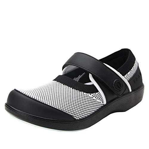 TRAQ BY ALEGRIA Qutie Womens Smart Walking Shoe Black White 12 M US Black Womens Smart Shoe