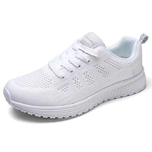 STQ Women's Athletic Walking Shoes Casual Mesh Comfortable Jogging Sport Walking Work Sneakers Gym Fitness 8.5 White