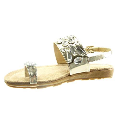 Angkorly - damen Schuhe Sandalen - Offen - Schmuck - String Tanga Keilabsatz 2 CM - Gold