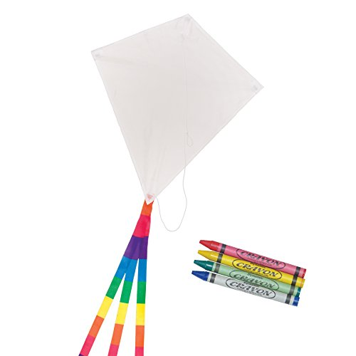Single Kite Beginner Line - In the Breeze Coloring Diamond 20 Inch Kite - 50 Piece Party Pack - Single Line Kite - Includes Crayons, Kite Line and Bag - Creative Fun for Kids and Adults