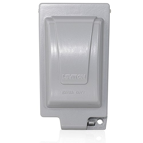 Leviton IUM1V-GY Extra Duty Outlet Hood, 1-Gang GFCI Or Duplex Receptacle Or Single Receptacle, Vertical Mount, Gray by Leviton