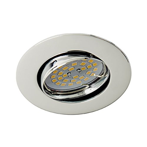Wonderlamp Basic W-E000019 - Foco empotrable techo redondo acero, incluye portalámparas GU10, diámetro de 8 x 1,5 cm. Ojo de buey basculante 30º: Amazon.es: ...