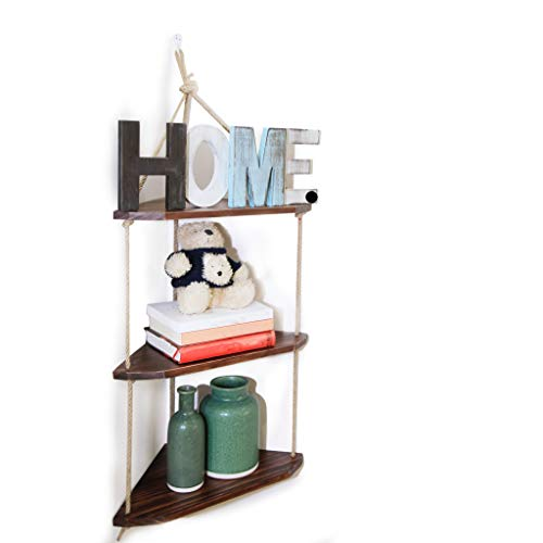 ASLINY Rustic Floating Corner Shelves Wall Mounted, 3 Tier Wood Storage Shelf Handmade ()