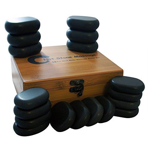 18pc Basalt Polished Massage Spa Hot Stone Therapy Box Set Rocks Oval Health (Rocks Basalt)