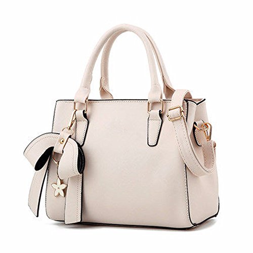 Vintage Rice Leather Shoulder Small Casual PU Pockets Shoulder MSZYZ Many Capacity Bags Women's Cross Soft Large Shoulder Wristlet with white Clutch Body E4wFcqWR