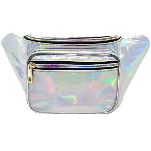 Mily Women Holographic Fanny Pack Shopping Waist Bag Waist P