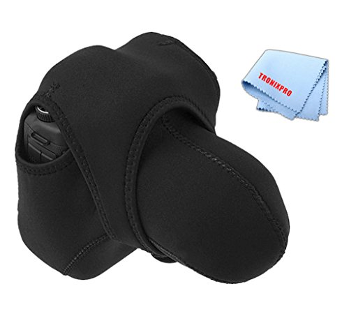 Tronixpro Medium Reversible Neoprene Stretchy Wrap Case, Black & Gray for Nikon D70 D3000 D3100 D3200 D3300 D5000 D5100 D5200 D5300, Canon T1I T3 T4I T5I XT XTI T5 SL1 Cameras & More + Microfiber
