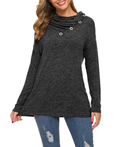 WEACZZY Womens Long Sleeve Button Cowl Neck Casual Loose Tunic Tops Blouse