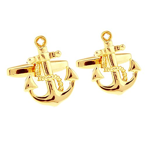 (Honey Bear Cufflinks for Men - Vintage Boat Anchor Sailors Ocean, Stainless Steel Wedding Gift Gold)