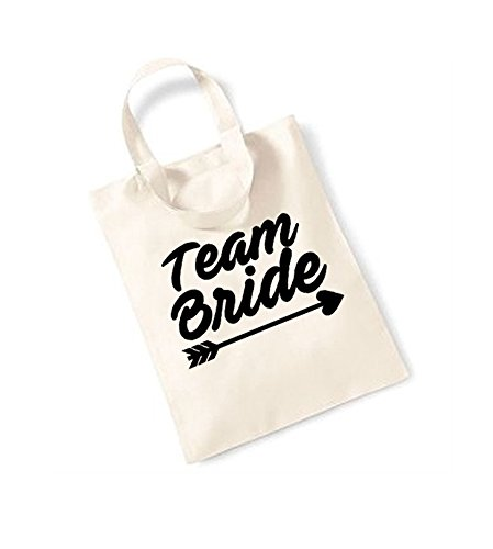 Team Bride - Arrow - Small Canvas Fun Slogan Tote Bag Natural/Black