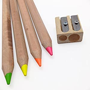 Eco Highlighters - Set of 4 Dry Highligher Pencils Will Not Bleed or Leak - Includes Jumbo Pencil Sharpener