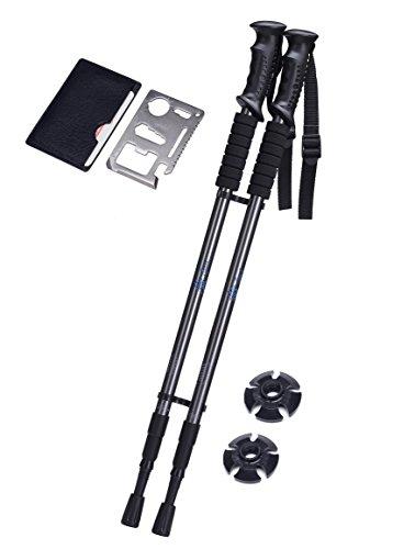 MR3-Sports Adjustable Walking Sticks - 2 pcs – BONUS !! Multifunctional Tool Included. NOW For Men & Women LUXURIOUS Shock Absorbing & Weatherproof Walking - Y Card Gift Big Balance