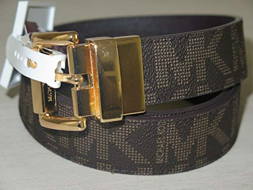 Michael Kors Brown Tan Signature Reversible Gold Leather Belt Sz S ()