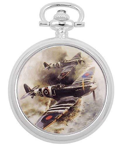 Atlas Reloj de bolsillo Hombre Retro mecánico Analog cuerda manual plateado 42 mm Salto Tapa D Day Spitfires: Amazon.es: Relojes