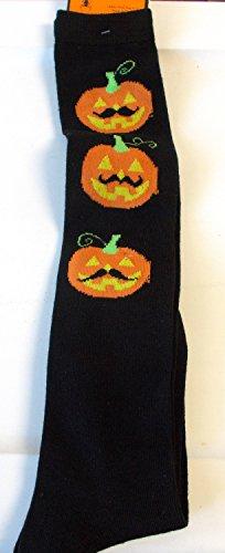 halloween-knee-high-socks-black-jack-o-lantern-mustache-womens-4-10-nwt-by-shopko