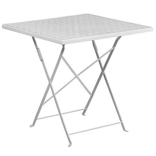 Flash Furniture 28'' Square White Indoor-Outdoor Steel Folding Patio Table - Square Folding Patio Table