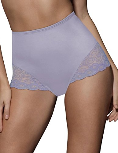 (Bali Lace Inset Microfiber Moderate Control Brief 2 Pair (X054) -Violet/Ame -M)
