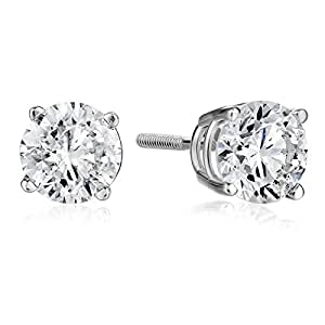 IGI-Certified 14k White Gold Round-Cut Diamond Stud Earrings (1 1/2 cttw)