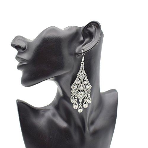Vintage Antique Inspired Filigree Chandelier Dangle Earrings-Statement Earrings for Women