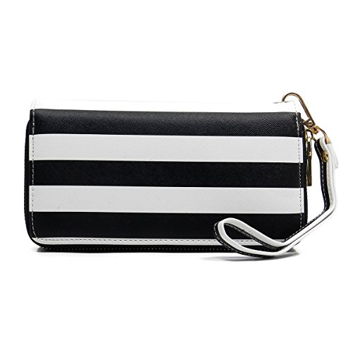 Stripe Print Double Zip-around Wallet Clutch Organizer Wristlet (Black) Stripe Zip Around Wallet