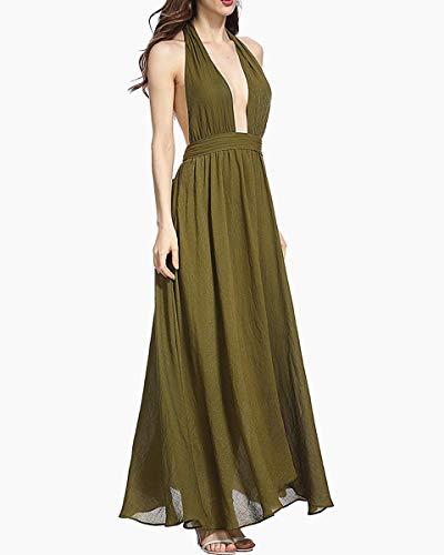 Valin Fête Soie Soirée Mousseline Ajourée Longue De Femme Maxi Vert Sans Cocktail Manche Robe V En Col Kqh478 gvxrXg