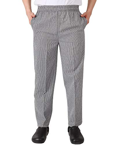 - Men's and Women's Elastic Stripe Chef Pants Floral Restaurant Work Pants and Uniforms Baggy Chef Pants S