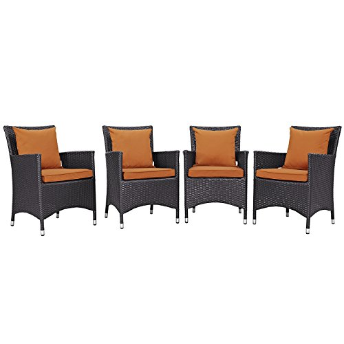 Modway Convene Wicker Rattan Outdoor Patio Dining Armchairs With Cushions in Espresso Orange - Set of 4 (Patio Cushions Outlet)