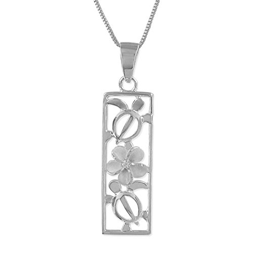 (Sterling Silver Turtle and Plumeria Vertical Bar Pendant Necklace,)