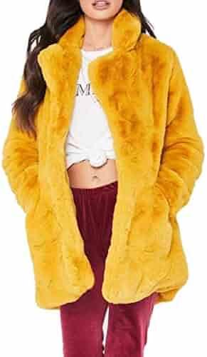 fd91717ea6e CBTLVSN Women s Curved-Hem Stylish Faux Fur Jacket Coat Lapel Fluffy Plus- Size Outerwear