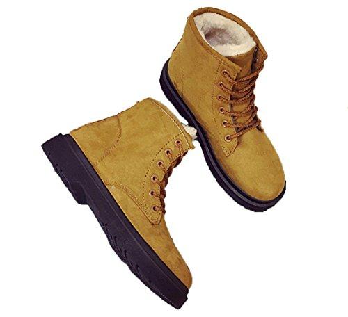 YCMDM Snow Boots inverno Martin Stivali Donne più velluto scarpe caldo cotone impermeabile grigio beige nero Brown 39 36 35 38 40 37 , brown , 37