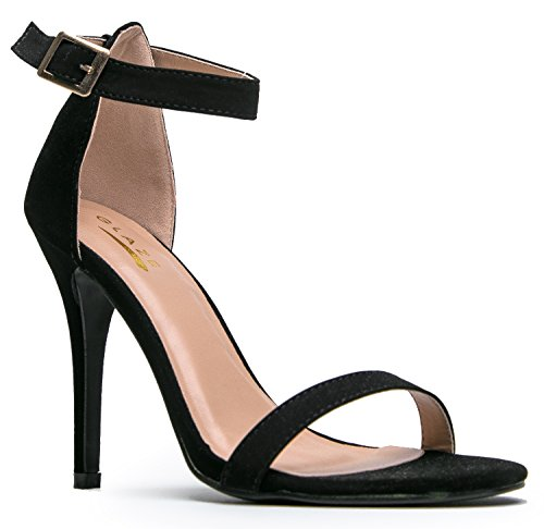 Glaze WILLOW-2 / CHARLIE-1 Stiletto High Heel Ankle Strap Sandal, Black-1, 9 B(M) US (One Strap Sandal)