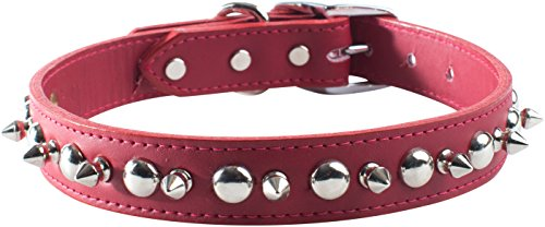 OmniPet Signature Leather Pet Collar with Spike and Stud Ornaments, Red, 3/4 by 18