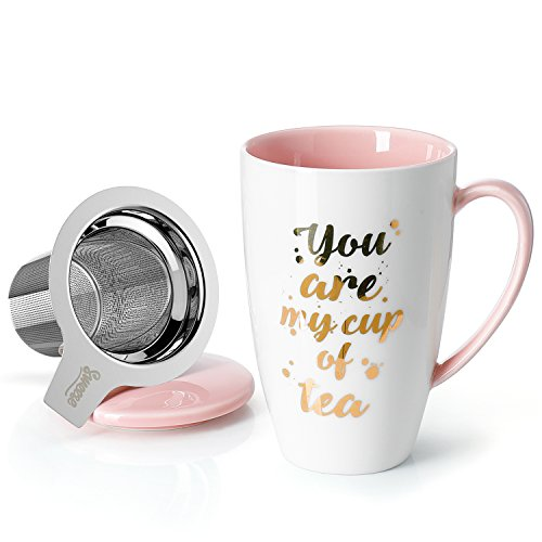 Sweese 2110 Porcelain Tea Mug with Infuser and Lid - You Are My Cup of Tea, 15 OZ, Pink