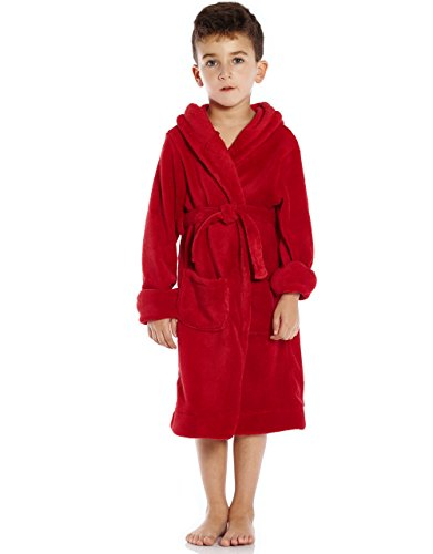 (Leveret Kids Fleece Sleep Robe Red Size 14 Years )