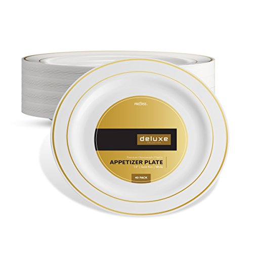 DELUXE PLASTIC PARTY DISPOSABLE PLATES | 7.5 Inch Hard Wedding Appetizer Plates | White with Gold Rim, 40 Pack | Elegant & Fancy Heavy Duty Party Supplies Plates for all Holidays & Occasions