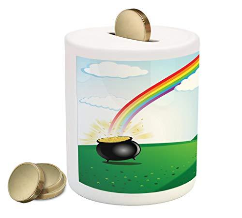 Lunarable Shamrock Piggy Bank, Pot of Coins at End of The Rainbow with Clovers Irish Leprechaun Treasure Cartoon, Ceramic Coin Bank Money Box for Cash Saving, 3.6