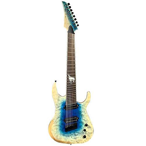 ZUWEI Solid Body Electric Guitar 8 Strings – ASH Body, Mahogany & Rosewood Neck – Blue Burst