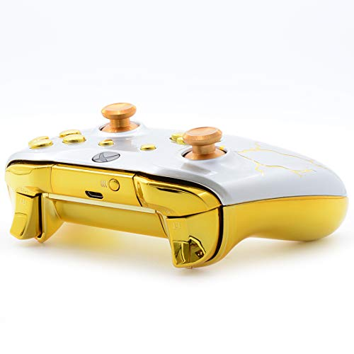 with 3.5 Jack White Gold Thunder Custom UN-MODDED Controller Unique Design Compatible with Xbox Elite