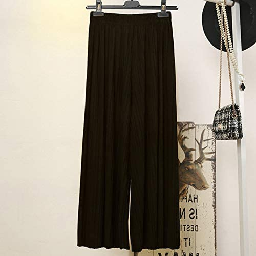 LPxdywlk Pantaloni Larghi Pieghettati Casuali della Gamba Allentata Elastica di Colore Solido delle Donne Pantaloni Comodi Pantaloni Traspiranti di Modo Vita Alta