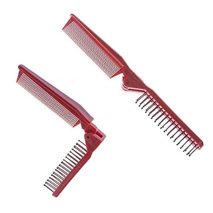 2pcs de viaje portátil de doble final fino / dientes gruesos pelo peine plegable bolsillo cepillo