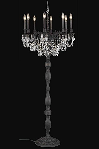 (Elegant Lighting 9208FL24DB/RC Rosalia Collection 8-Light Floor Lamp with Royal Cut Crystals, Dark Bronze Finish)